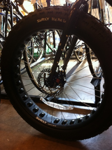 Surly Moonlander front wheel and Big Fat Larry tire